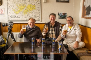 Toasting the trip with Carl Taljaard (left) and Johan Slazus (right)