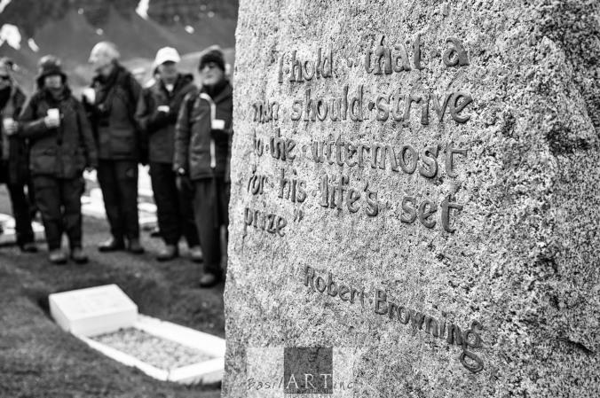 The back of Sir Ernest Shackleton's Grave