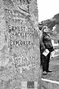 Katie Murray (Ship Historian) at Sir Ernest Shackleton's Grave
