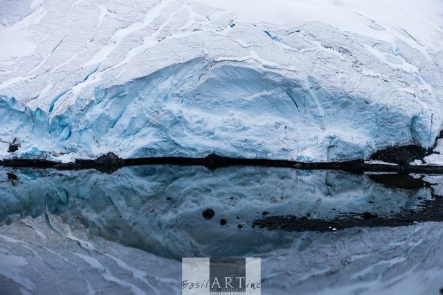 Glacier mouth in black water